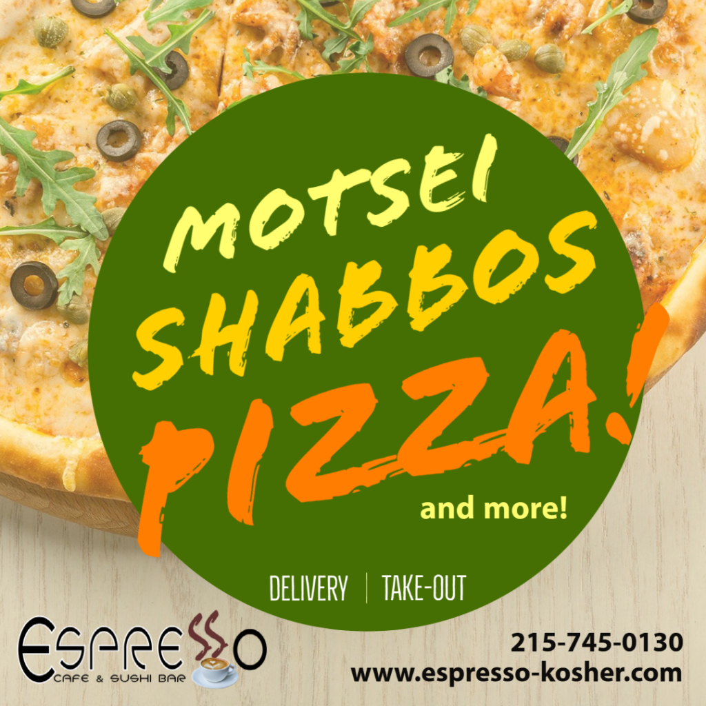 We are open motsei Shabbos! For delivery or take-out